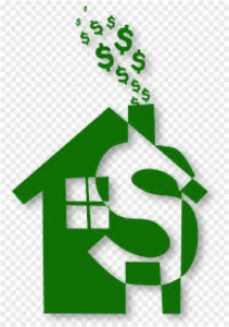 Green house with a dollar sign coming out chimney